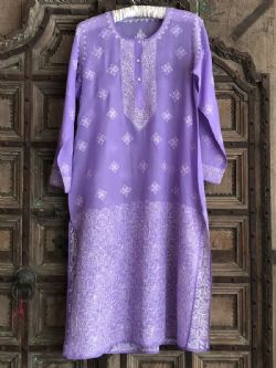 Hand Embroidered Fine Cotton Kaftan from Lucknow - Amethyst